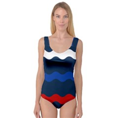 Wave Line Waves Blue White Red Flag Princess Tank Leotard