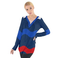 Wave Line Waves Blue White Red Flag Women s Tie Up Tee