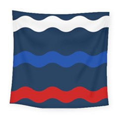 Wave Line Waves Blue White Red Flag Square Tapestry (large)