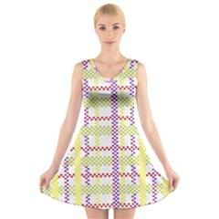 Webbing Plaid Color V Neck Sleeveless Skater Dress