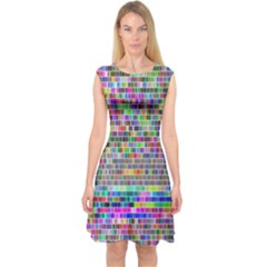 Plasma Gradient Phalanx Capsleeve Midi Dress