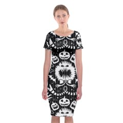 Wrapping Paper Nightmare Monster Sinister Helloween Ghost Classic Short Sleeve Midi Dress