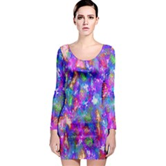 Abstract Trippy Bright Sky Space Long Sleeve Bodycon Dress