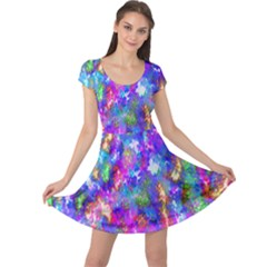 Abstract Trippy Bright Sky Space Cap Sleeve Dresses