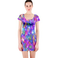 Abstract Trippy Bright Sky Space Short Sleeve Bodycon Dress