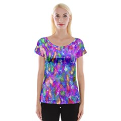 Abstract Trippy Bright Sky Space Women s Cap Sleeve Top