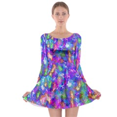 Abstract Trippy Bright Sky Space Long Sleeve Skater Dress