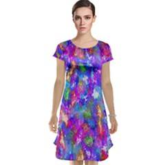 Abstract Trippy Bright Sky Space Cap Sleeve Nightdress