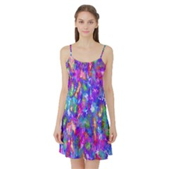 Abstract Trippy Bright Sky Space Satin Night Slip