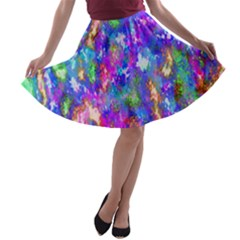 Abstract Trippy Bright Sky Space A Line Skater Skirt