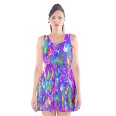Abstract Trippy Bright Sky Space Scoop Neck Skater Dress