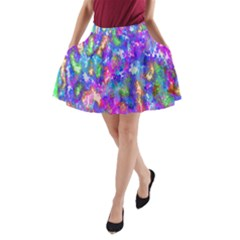 Abstract Trippy Bright Sky Space A-Line Pocket Skirt