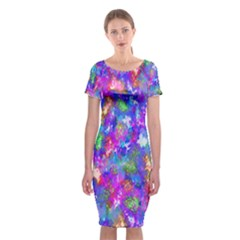 Abstract Trippy Bright Sky Space Classic Short Sleeve Midi Dress
