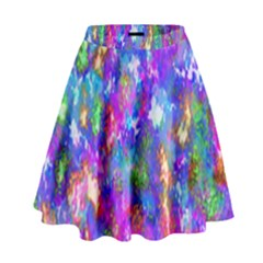 Abstract Trippy Bright Sky Space High Waist Skirt