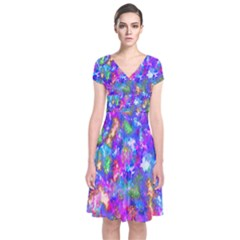 Abstract Trippy Bright Sky Space Short Sleeve Front Wrap Dress
