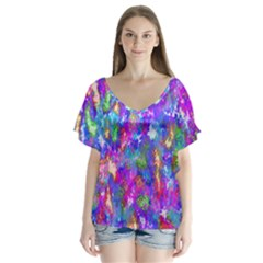Abstract Trippy Bright Sky Space Flutter Sleeve Top