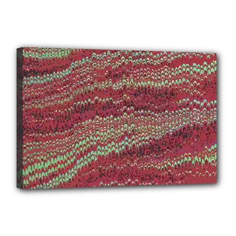 Scaly Pattern Colour Green Pink Canvas 18  X 12