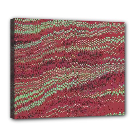 Scaly Pattern Colour Green Pink Deluxe Canvas 24  X 20