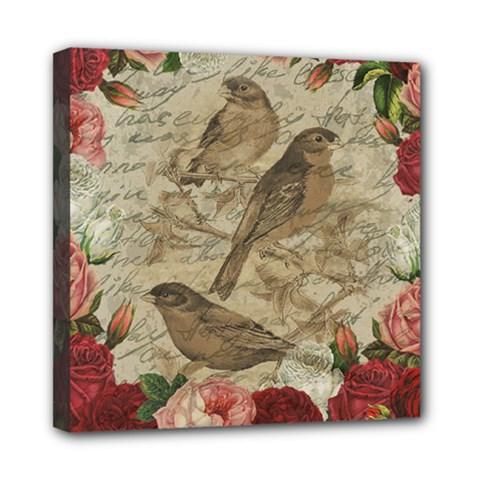 Vintage birds Mini Canvas 8  x 8
