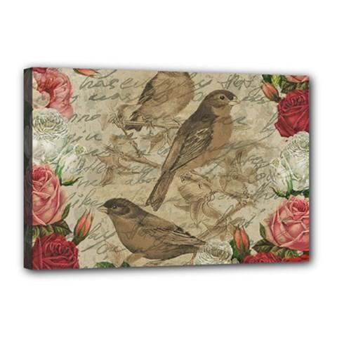 Vintage Birds Canvas 18  X 12