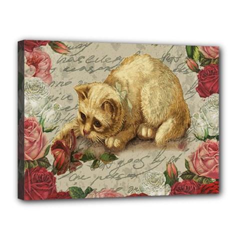 Vintage kitten  Canvas 16  x 12