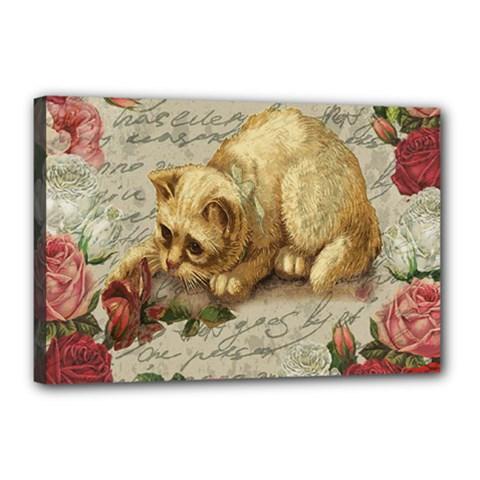 Vintage kitten  Canvas 18  x 12