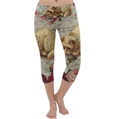Vintage kitten  Capri Yoga Leggings