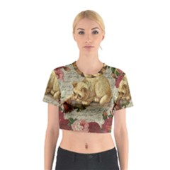Vintage kitten  Cotton Crop Top