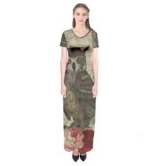 Vintage owl Short Sleeve Maxi Dress