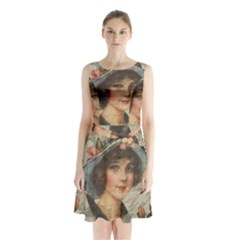 Vintage girl Sleeveless Chiffon Waist Tie Dress