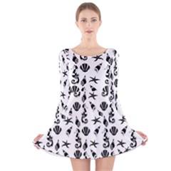 Seahorse pattern Long Sleeve Velvet Skater Dress