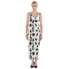 Seahorse pattern Fitted Maxi Dress