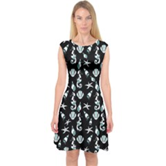 Seahorse pattern Capsleeve Midi Dress