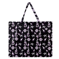 Seahorse pattern Zipper Large Tote Bag