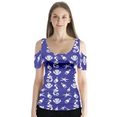 Seahorse pattern Butterfly Sleeve Cutout Tee
