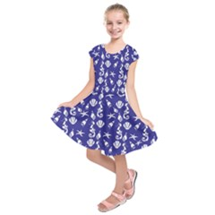 Seahorse pattern Kids  Short Sleeve Dress