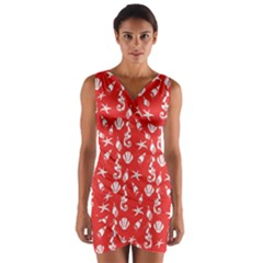 Seahorse pattern Wrap Front Bodycon Dress