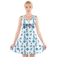 Seahorse pattern V-Neck Sleeveless Skater Dress