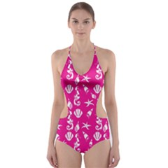 Seahorse pattern Cut-Out One Piece Swimsuit