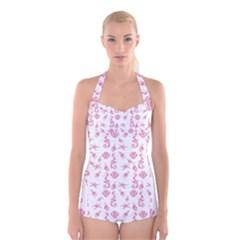 Seahorse pattern Boyleg Halter Swimsuit