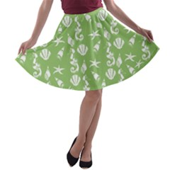 Seahorse pattern A-line Skater Skirt