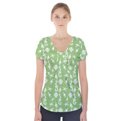 Seahorse pattern Short Sleeve Front Detail Top