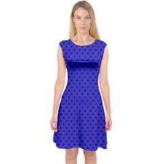 Polka dots Capsleeve Midi Dress