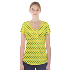 Polka dots Short Sleeve Front Detail Top