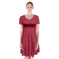 Polka dots Short Sleeve V-neck Flare Dress