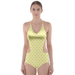 Polka Dots Cut Out One Piece Swimsuit