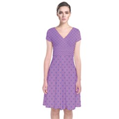 Polka dots Short Sleeve Front Wrap Dress