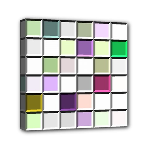 Color Tiles Abstract Mosaic Background Mini Canvas 6  X 6