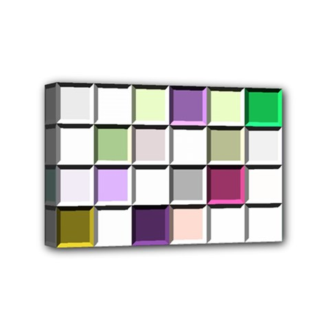 Color Tiles Abstract Mosaic Background Mini Canvas 6  x 4