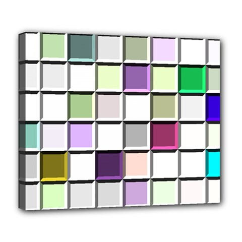 Color Tiles Abstract Mosaic Background Deluxe Canvas 24  X 20